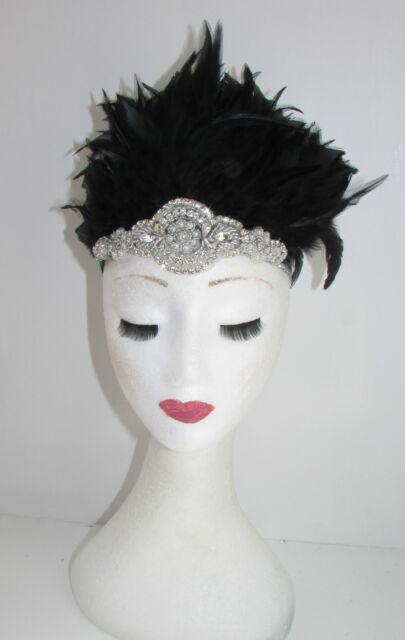 Navy Blue /& Silver Feather Headdress Headband 1920s Showgirl Carnival Samba 9AK