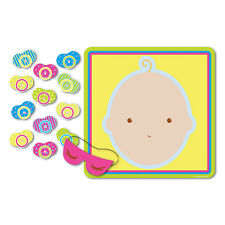 1 Baby Shower Party Game PIN THE PACIFIER ON THE BABY for 12 Guests