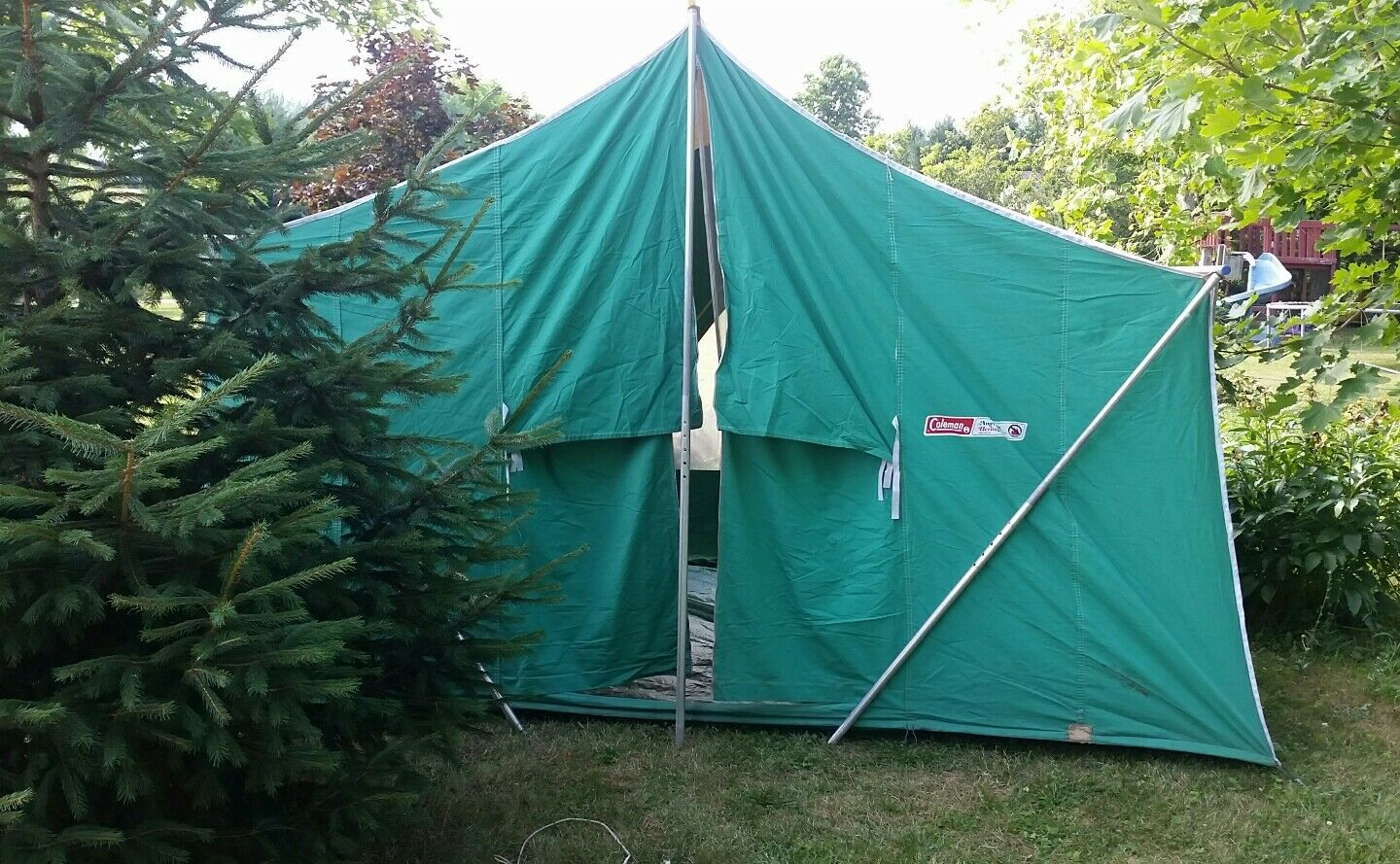 Vintage Canvas 8 Tent Coleman American Heritage Camping 11 x 8 Canvas 1970s Large Peaked 28b99a