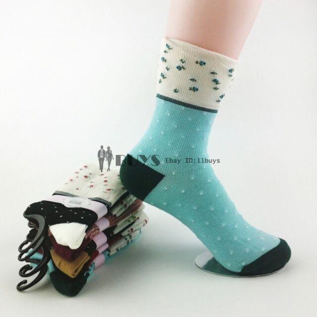 5 Pairs Lot Womens Ladies Floral Cute Crew Christmas Cotton Socks Polka Dots