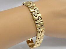 "14k Fancy Link Bracelet Heavy 21.2gr Satin & Polished Status Links 1/2"" wide 7"""