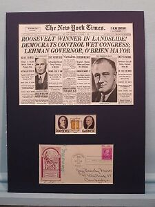 Franklin D. Roosevelt wins 1932 Presidential Election & James Farley autograph