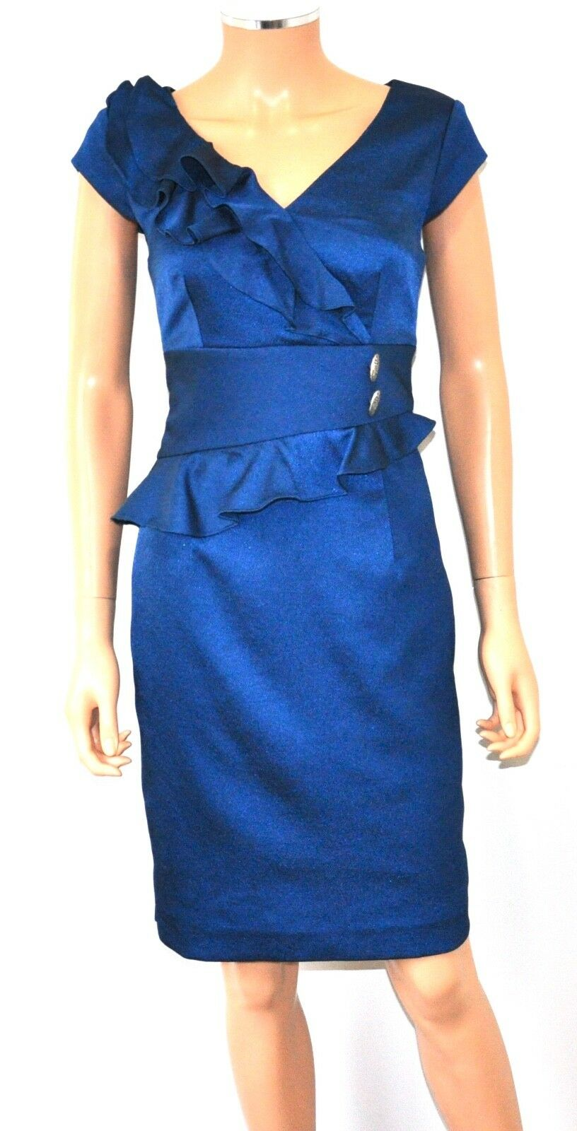 KAY UNGER Sapphire bluee Ruffled Peplum Cap Sleeve Shift Party Dress - 8, Small