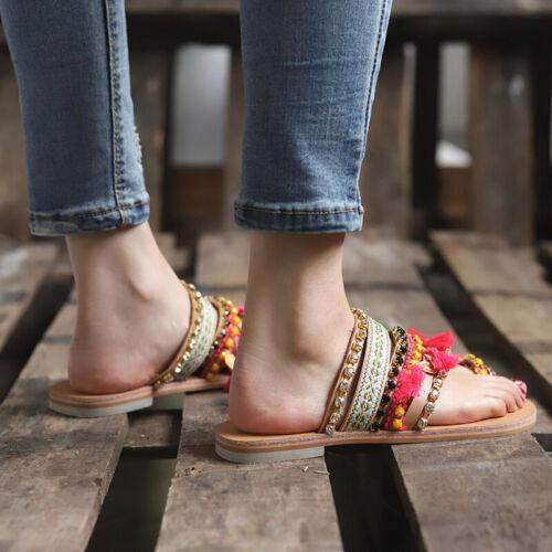 Damen Boho Flache Sandalen Sandaletten Sommerschuhe Zehentrenner Hausschuhe 43