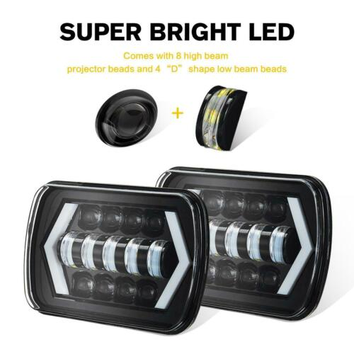 "Pair 7x6/"" 5x7/"" LED Headlights DRL Turn Signal DOT Lamp for Toyota Nissan Pickup"