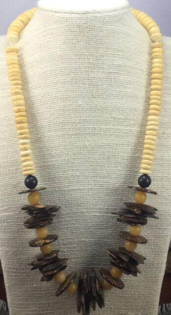 Vintage Style Necklace bROWN Coconut Chip, Yellow Plastic & Wood Heishe Choker