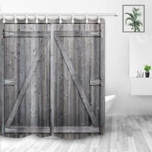 Creative Old Wooden Door Bathroom Shower Curtain Fabric w//12 Hook 71*71inch