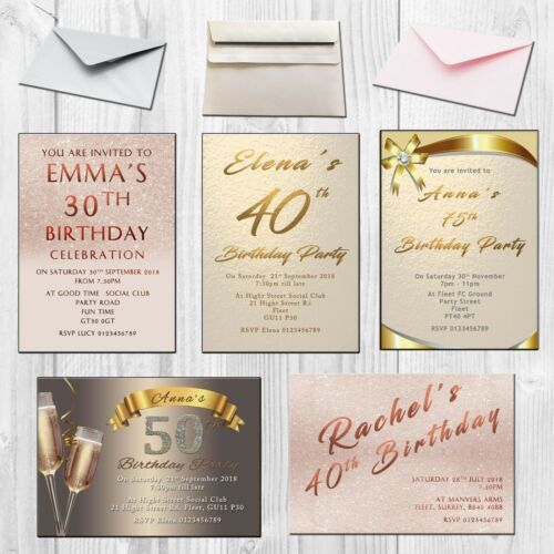Birthday Party Invitation Personalised 40th 50th 60th 30th 21st 18th Invites