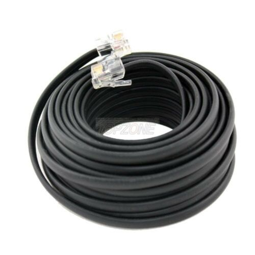 """100/"""" Feet Telephone Phone Line Cord Also DSL Cable Wall to Modem 4 wires Black"""