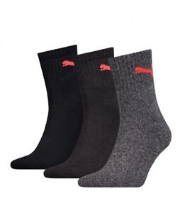 Puma-Unisex-Adults-Short-Crew-Cotton-Sports-Socks-Black-Grey-Pack-Of-3-New