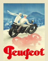 Motorcycle Couple Riding Peugeot Bike Cycle 16x20 Vintage Poster Repro Free S/h