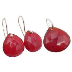 Sterling Silver Carnelian Pendant Necklace /& Earrings Set