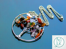 Handmade Mix Gemstone Tree of Life Natural Gemstone Pendant Necklace 50cm