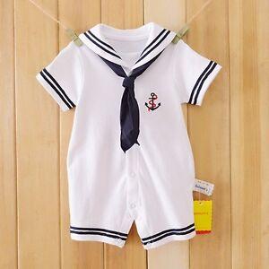 cfc843cba125 Newborn Baby Boys Sailor Romper Navy Suit Grow Outfit Summer Marine ...