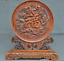 China-Boxwood-wood-Hand-carved-phoenix-bird-Dragon-Loong-statue-Screen-Byobu thumbnail 5