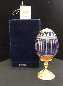 Vintage-Imperial-Cobalt-FABERGE-Egg-With-Box-and-tag-Signed-Beauty