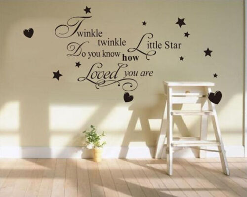 Removable Twinkle Star Wall Sticker Vinyl Decals Nursery Baby Room Home Decor UK