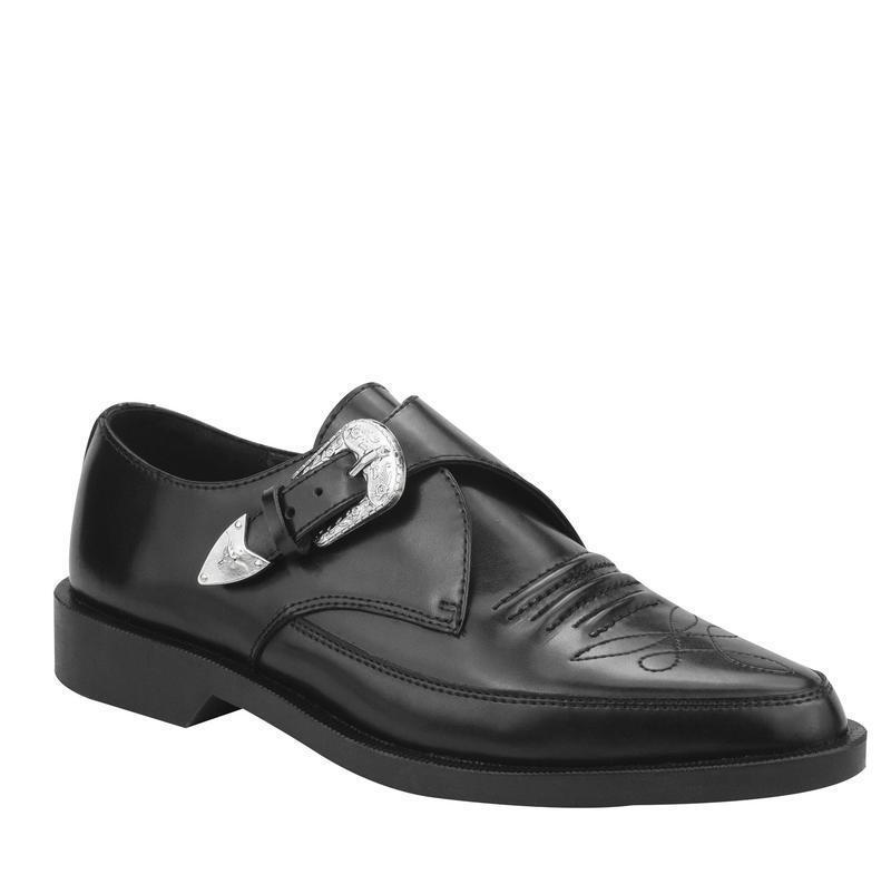 T. u.K A8652 Tuk Black Western Detail Buckled Pointed Jam shoes