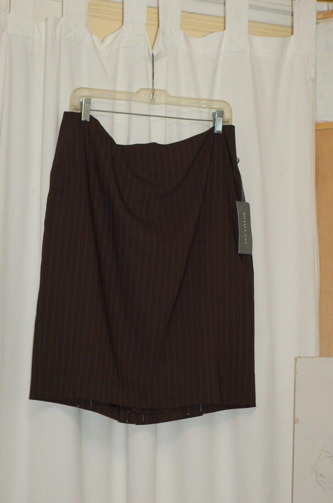 Ann Taylor Petites Skirt Brown Wool Blend Pinstripes Size 14 P   98