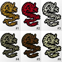 "#027IR Tribal Tattoo Dragon Biker Embroidered Sew Iron on Patch Badge 3.5"" Tall"