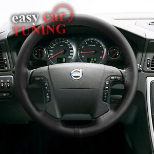 Details About Volvo S70 1999 2007 Black Real Genuine 100 Leather Steering Wheel Cover New