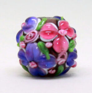 10pcs-handmade-Lampwork-glass-round-Beads-purple-pink-flower-15mm