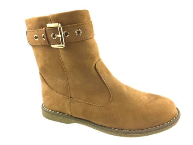 Tan Brown Suede Zip Side Ankle BOOTS