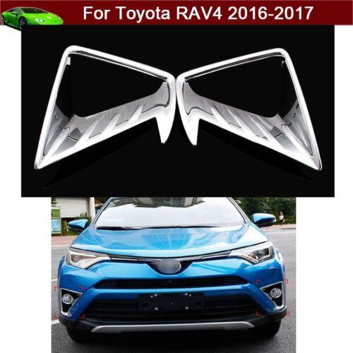 New 2pcs Chrome Front Fog Light Lamp Frame Cover Trim For Toyota RAV4 2016-2018