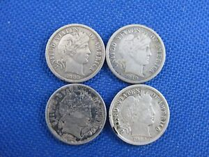 LOT-OF-4-BARBER-DIME-10-CENT-COINS-1903-1910-1912-1913