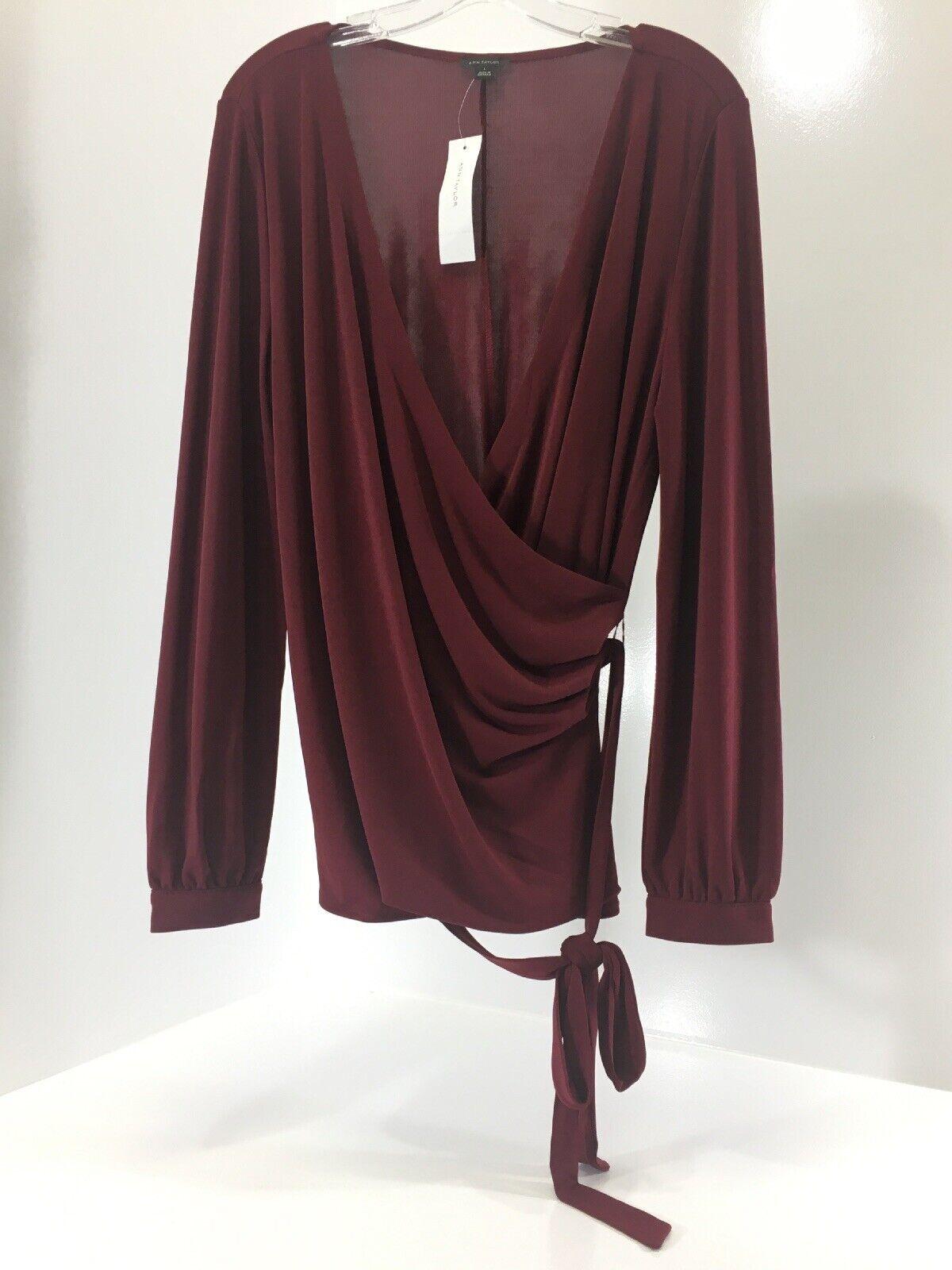 Ann Taylor damen's Long Sleeve Button Cuff Plunge Wrap Front Blouse Wine L NWT @