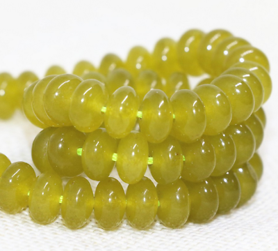 """Green malaysia 5x8mm natural gem chalcedony jades faceted abacus loose beads15/"""""""