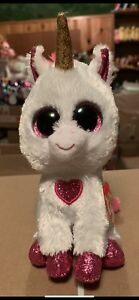 "7c4d0297ae9 Ty CHERIE -White Pink w Heart Valentine s Unicorn 6"" EXCLUSIVE ..."