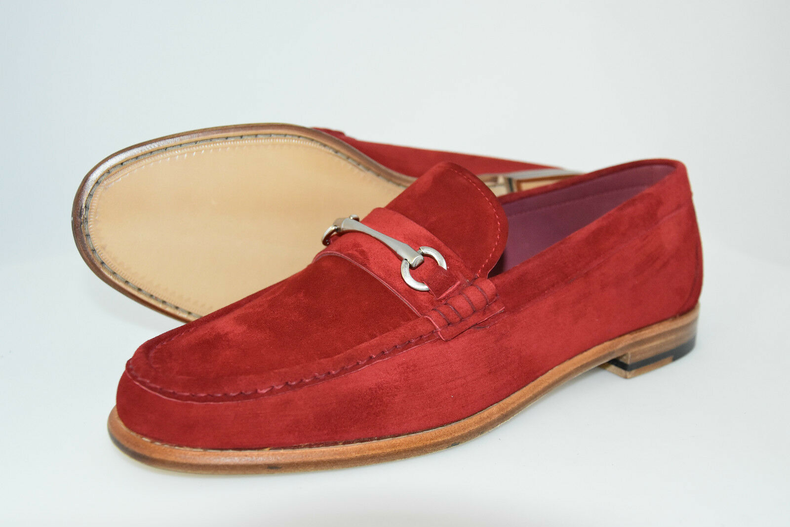 MAN HORSEBIT HORSEBIT MAN LOAFER-MOCASSINO-RED SUEDE-CAMOSCIO ROSSO-LEATHER SOLE 475840
