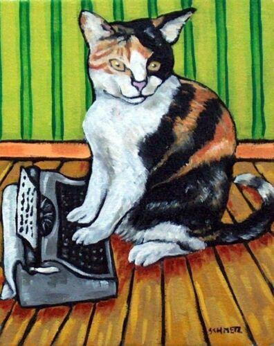 CAT TYPING typewriter painting animal art  4x6  GLOSSY PRINT