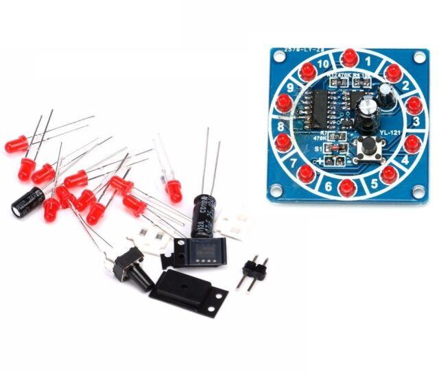 1PCS Round Electronic Lucky Rotary Suite CD4017 NE555 Self DIY LED Light Kit CA