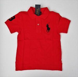 NWT-Ralph-Lauren-Boys-SS-Classic-Big-Pony-Solid-RED-Mesh-Polo-Shirt-Sz-5-6-7-NEW