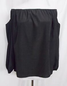 Lovely-Day-Strapless-Elasticized-Top-Long-Sleeve-Cold-Shoulder-Black-size-Large