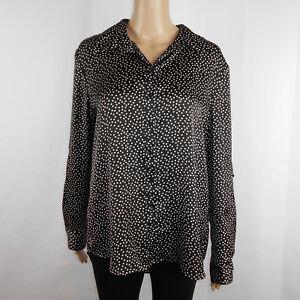 Chaus-Womens-Polka-Dot-Button-Down-Blouse-Long-Roll-Up-Sleeve-Black-White-Size-M
