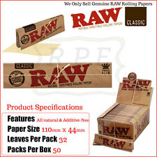 RAW King Size Slim Clasic Rolling Papers - 1 Full New Box - 50 Packets Genuine