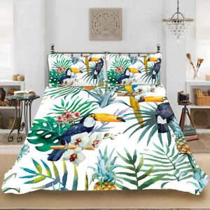 Flowers Birds 3D Quilt Duvet Doona Cover Set Single Double Queen King Print