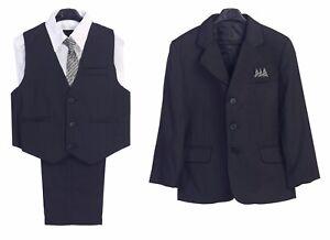 promo code e9127 24741 Details zu Jungen Anzug Marineblau Formell Set Gestreift Weste Hose Hemd  Krawatte Neu