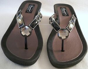 8545454838d50f GRANDCO SANDALS Beach Pool THONG Black BLING GEMSTONE Jeweled DRESSY ...