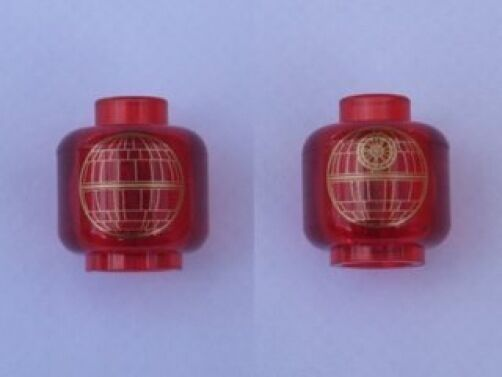 LEGO STAR WARS - Minifig, Head with Gold Death Star Pattern - Trans-Red