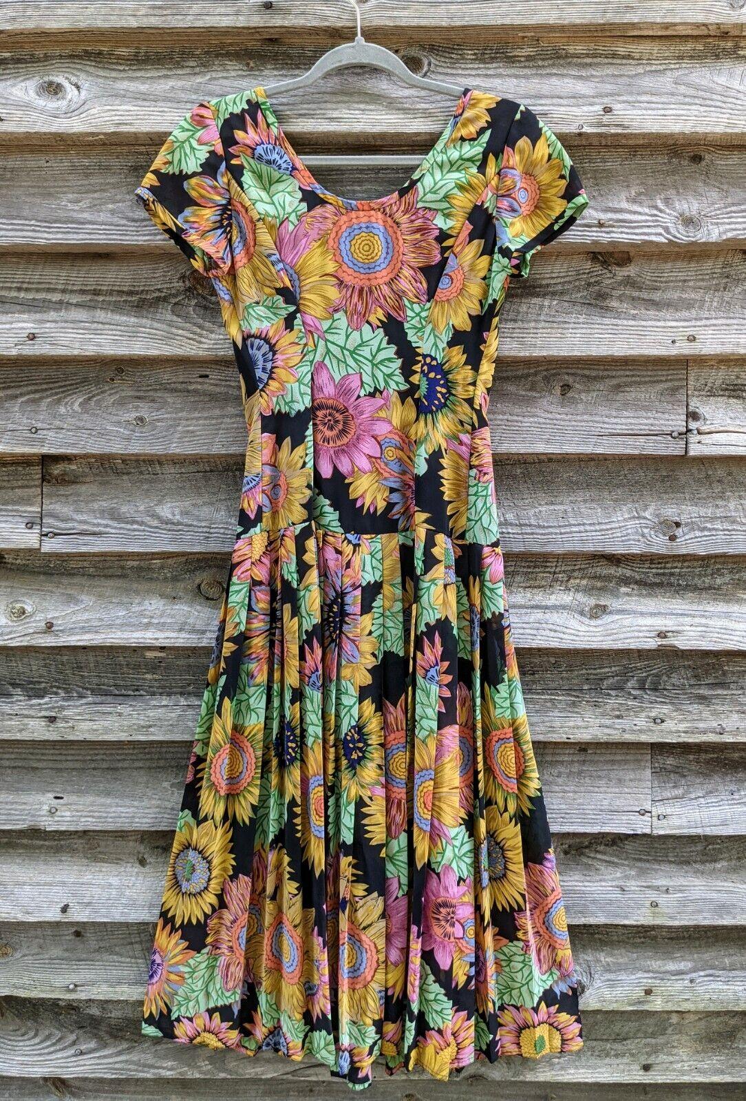 Vtg 90's Midi Dress Sunflowers RARE! Sundress Flo… - image 1