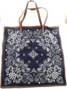 Women-039-secret-Sunwear-Blue-Bandanna-Cotton-Tote-Shopping-Bag-Large-Brown-Straps