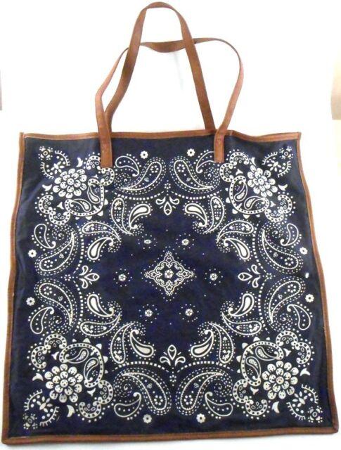 Women'secret Sunwear Blue Bandanna Cotton Tote Shopping Bag Large Brown Straps