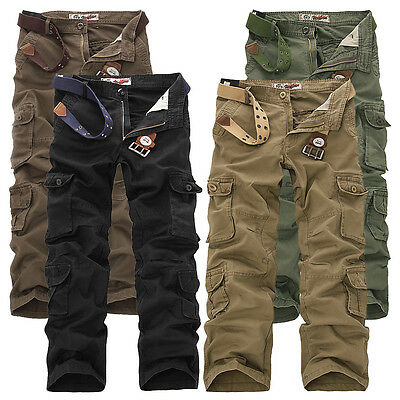 ARMY CARGO CAMO COMBAT MILITARY MENS TROUSERS CAMOUFLAGE PANTS CASUAL UK30-46