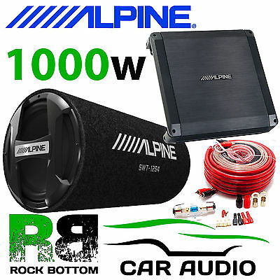 Alpine Subwoofer Bass package Alpine SWT-12S4 Alpine BBX-T600 with wiring kit
