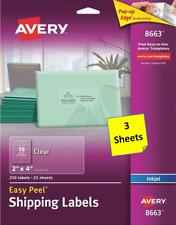 3 Sheets Avery 18663866318863 2 X 4 Clear Address Labels Inkjet