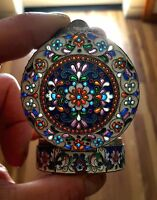 Old Russian Silver Cloisonne Enamel & Plique-A-Jour Round Box, one-of-a-kind!